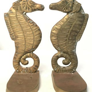 Pair Gold Toned Brass Seahorse Bookends Lot includes 2