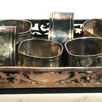 Silver Plated Napkin Rings W Art Nouveau Tray Lot 9