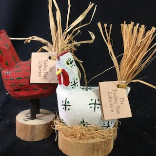 lot 2 Wood Folk Art Style Chickens Whimsical wood