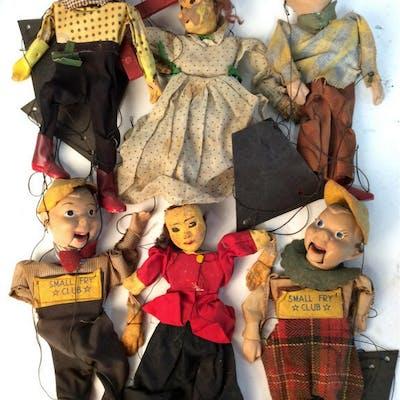 Antique Puppet Dolls Set of 6 antique puppet dolls.