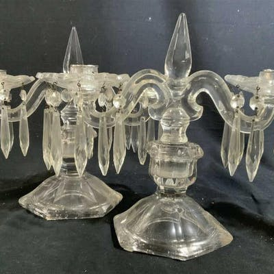 Pair Antique Glass Crystal Candelabras Each has two