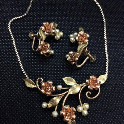 KREMENTZ Rose Bud jewelry set