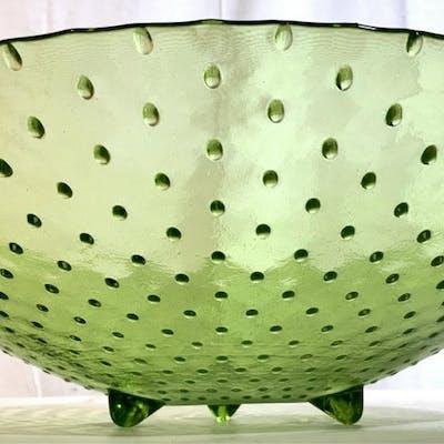 Green Art Glass Footed  Centerpiece Bowl