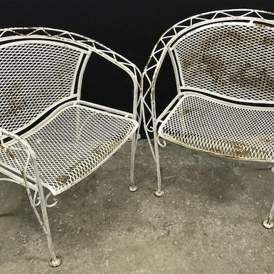 Lot 2 Russell Woodard Style MCM Metal Patio Chairs
