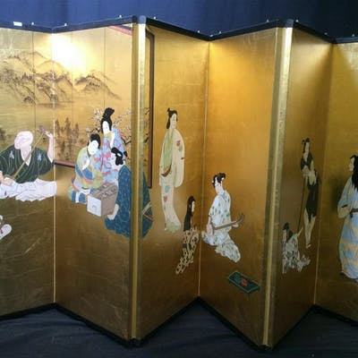6 Panel Painted Asian Folding Screen