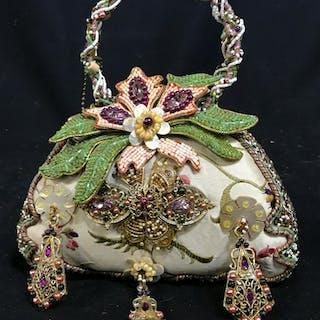 MARY FRANCES Beaded Handbag Floral Design MARY FRANCES