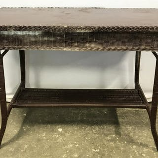 Chocolate Toned Wood & Wicker Console Table Console