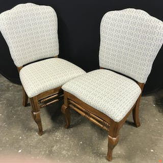 Pair Wood Dining Chairs W Upholstered Seat & Backs Pair