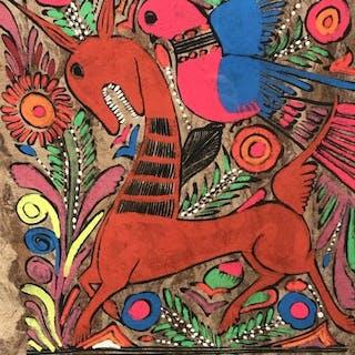 Petrykivka Ukrainian Folk Art Style Painting
