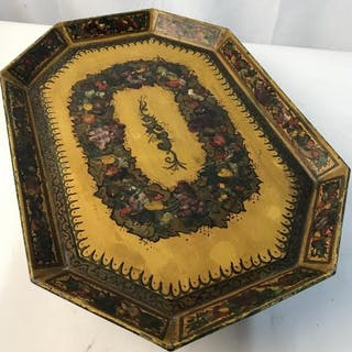 Vintage hand painted metallic serving/display tray