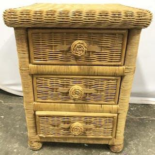 3 Drawer Wood & Wicker Nightstand
