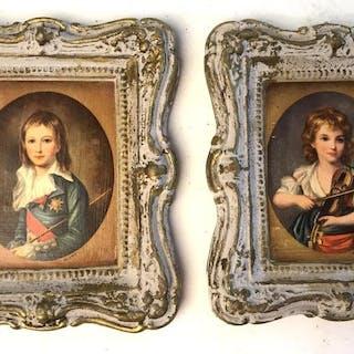 Set 4 Vintage Miniature framed paintings