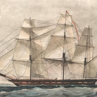 Hand-Colored Engraving of 36-Gun Frigate Ship