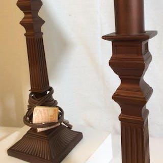 Pair 2 Brown metal and composite Lamps