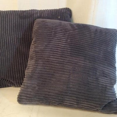Pair smoke blue corduroy couch pillows