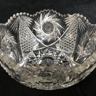 Cut Crystal Hobstar Centerpiece Bowl