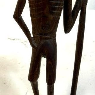 Hand Carved Wood African Figural