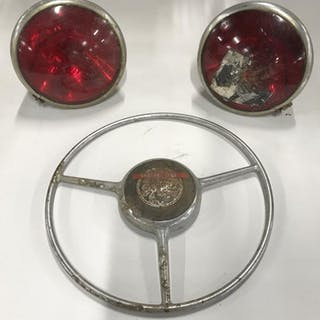 Vintage Seagrave Fire Truck Lights & Wheel Cover