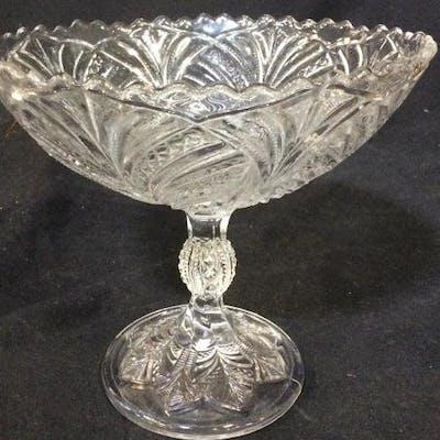 Vintage Glass Elevated Fruit Bowl