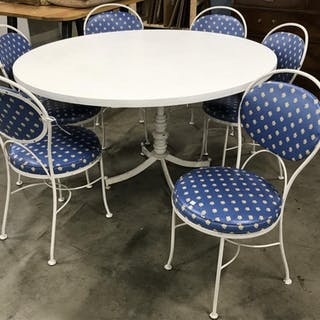 Lot 7 Vintage Round Dining Table W Metal Chairs