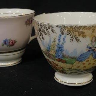 Pair Vintage COLCLOUGH BONE CHINA TEACUPS
