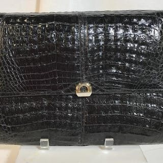 Vintage possibly leather black oversized clutch