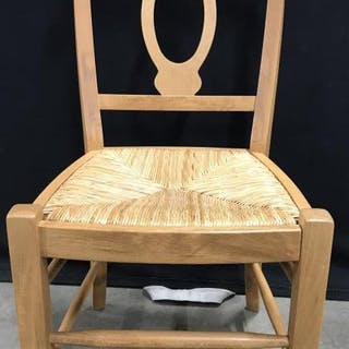 Carved Wooden Side Chair W Rush Seat
