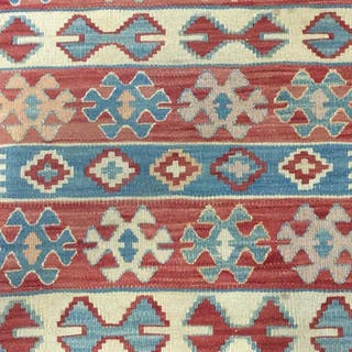 Handmade Geometrically Detailed Wool Rug
