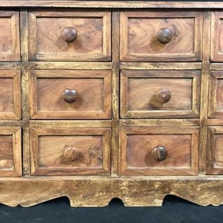 12-Drawer Carved Wood Tabletop Apothecary Chest