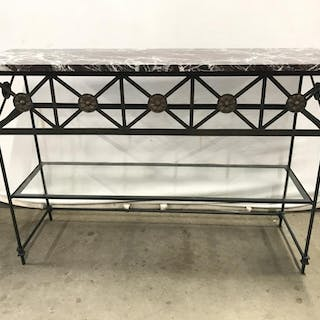 Vintage Iron And Marble Topped Console Table