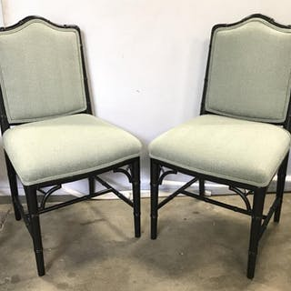 Set 4 Black Toned Chipendale Style Side Chairs