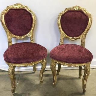 Pair Antique Venetian Carved Gilt Wood Chairs