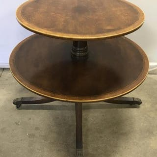 Antique Two Tiered Dumbwaiter Pedestal Table