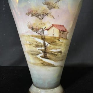 Italian Hand-Painted Opalescent Porcelain Vase