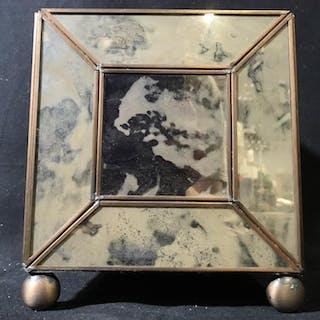 Pair Foxed Mirror Paneled Box Cache Pots