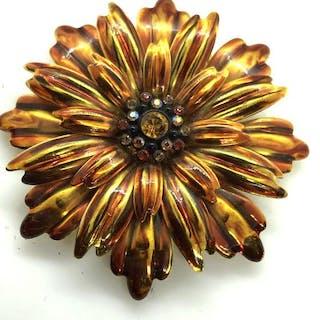 Enameled Floral Brooch Pin