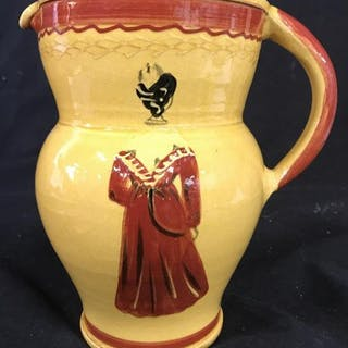 Gold And Red Toned Earthenware Painted Pitcher