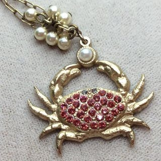Catherine POPESCO Crystal Encrusted Crab Necklace