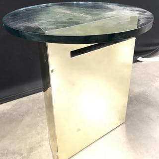 Circa 1970s brass glass geometric side table