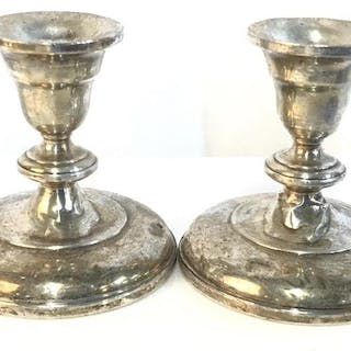 Pair REVERE Weighted Sterling Vntg Candleholders