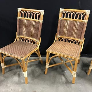 Set 4 Rattan And Wicker Side Chairs