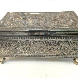 Vintage Repousse Silver Toned Footed Trinket Box