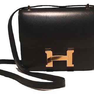 NEW Hermes 18cm Mini Black Box Calf Constance Shoulder – Current ... 268fb23330141