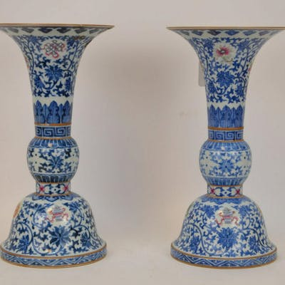 PAIR CHINESE PORCELAIN DOUCAI VASES.  Condition: one