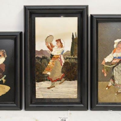 3 FRAMED PIETRA DURA PLAQUE depicting women with