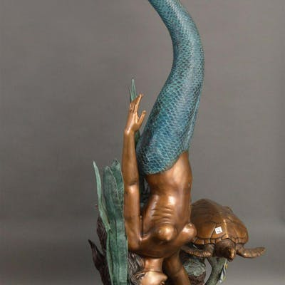 Bronze fountain life size diving mermaid with turtle