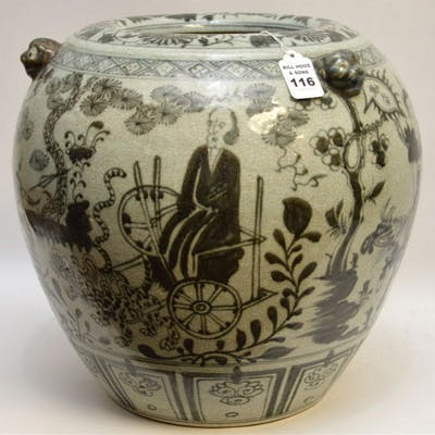 Large Early Chinese Blue & White Porcelain Pot.