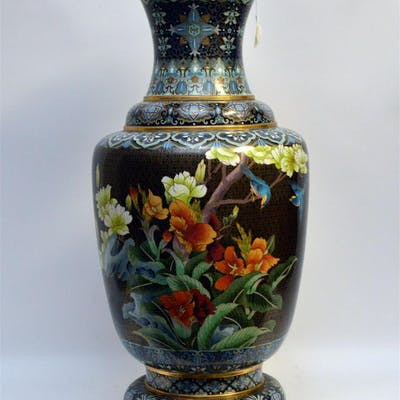 Monumental Chinese Cloisonné Vase.  Condition: good