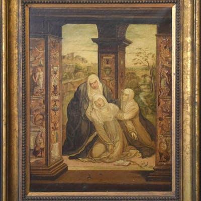 19th century oil on canvas, Italianesque religious