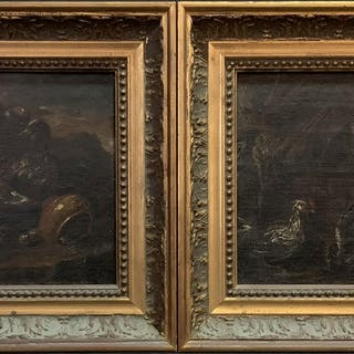 Pair (Two) 18th Century European Oil on Canvas. Both of